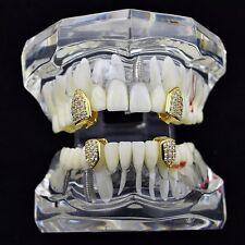 18K Gold Plated Single Cap Tooth Set CZ Cubic Zirconia 2 Top Teeth 2 Bottom Caps