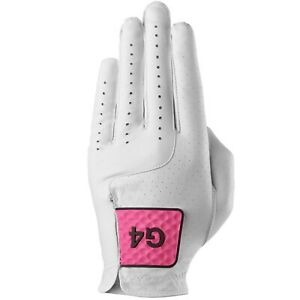 G/Fore G4 MG4.1 Left Hand $40 Leather Golf Glove Snow/Day Glo Pink 2021 Size XL