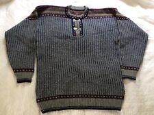 Telemark Norway Large Mens Nordic Wool Ski Sweater Pewter Clasps Henley