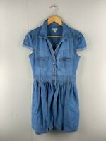 Urban Womens Blue Denim Knee Length Button Up Fit And Flare Dress Size Medium