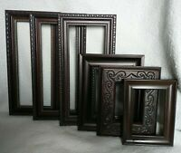 Vintage lot 6 PICTURE FRAMES Recycle Arts Crafts Project Deco dark ornate geo