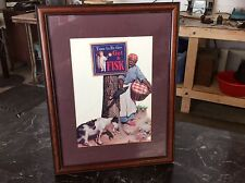 FISK, TIME TO RE-TIRE, W/BLACK WOMEN AND GOAT  ADVERTISEMENT PICTURE WITH FRAME