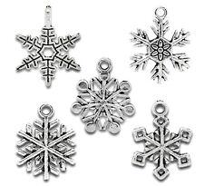 BD 50PCS New Mixed Silver Tone Christmas Snowflake Charm Pendants
