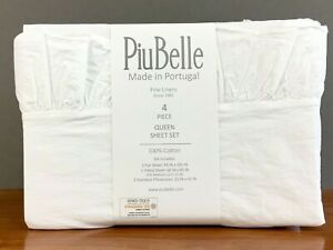 PiuBelle Premiere 4-Piece QUEEN Sheet Set Portugal White Ruffled Cotton
