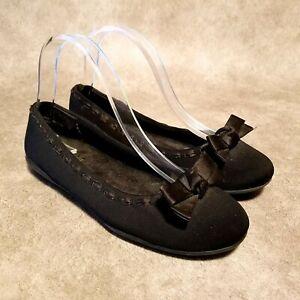 Walking Cradles Womens WO312166 Sz 7 WW Black Ballet Flats with Bow