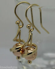KAEDESIGNS NEW GENUINE 9CT YELLOW & ROSE GOLD 8MM SWIRL BALL EARRINGS