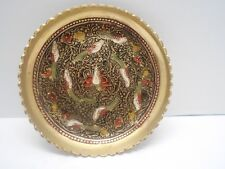 vintage Brass birds design decorator plate attached stand embossed and painted