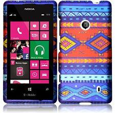 For Nokia Lumia 521 HARD Case Snap Phone Cover Accessory Blue Decorative Tribal