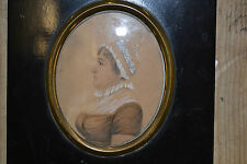 Antique 19th century miniature painting, head and shoulders Victorian lady c1860