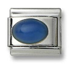 Italian Charm Blue Agate Stone Oval Stainless Steel 9 mm Modular Link Bracelet