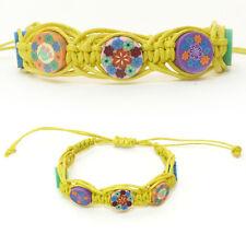 BRACELET femme ou enfant réglable coton ciré JAUNE millefiori fimo multicolore