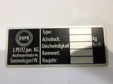 Josef Peitz ESPE Typenschild Schild Achse Miststreuer Wagen Anhänger s32