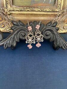 rare barbara bixby pink jade white topaz sterling silver earrings