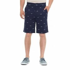 MEN'S CASUAL / DRESS SHORTS BY ISAAC MIZRAHI, NAVY BLUE w/ GREY SHARKS, 36W, NWT