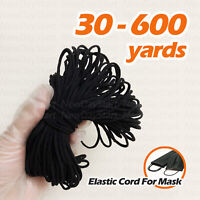 3mm BLACK Soft Round Elastic Cord Band Sewing FOR DIY Mask 30 to 600 Ya