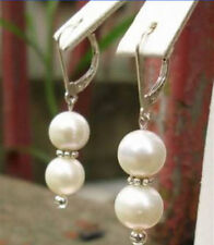 8mm Genuine White Shell Pearl Silver Dragon Hook Earrings JE34