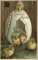 Easter - Chicks in Giant Eggs House w/ Ladder c1910 Postcard
