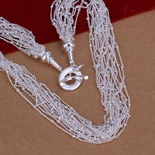 Cadena de cuello dama ancla Bola 50cm Collar chapado con Plata esterilina
