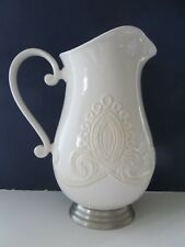 Retired Lenox Linen Closet Large Metal Footed Pitcher