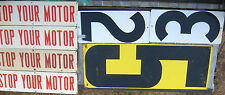 Lot 8 Antique Vintage Porcelain Stop Your Motor & Gas # Price Art Sign Texaco?