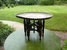 Antique Hammered Copper Tray Table w/ Carved Wood Folding Stand ... Middle East