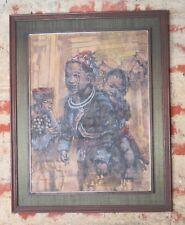 """Peinture / huile sur panneau """"La femme tibétaine et son enfant"""" signé Fayat"""