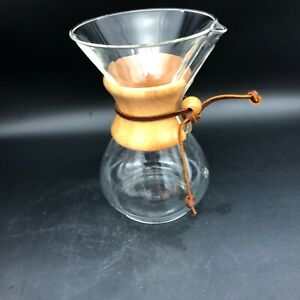 Pyrex Chemex 6-Cup Coffee Maker With Wood Collar Unmarked Bottome