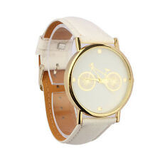 2016 Unisex Fashion Bicycle Pattern Dial Leather Band Quartz Analog Wrist Watch