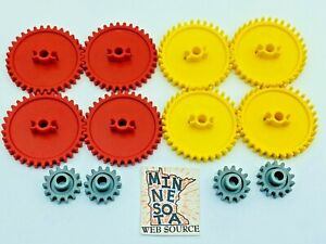 12 Knex Gear Lot - Red & Yellow Crown Med & Small Gray K'nex Parts Assortment