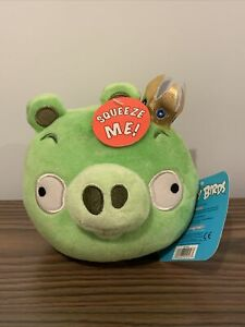 """Commonwealth Angry Birds Green King Pig Gold Crown NO SOUND 5"""" Plush NWT"""