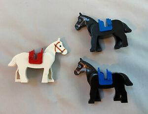 Lego Set of 3 Castle Kingdom horses with saddles (white, brown, black)