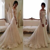 New Lace Long Sleeves Mermaid Wedding Dress White/Ivory Custom Made Bridal Gown
