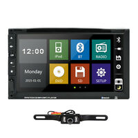 """Double 2 Din 7"""" In Dash Stereo Car DVD Player Bluetooth Radio iPod SD/USB+Camera"""