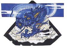 NEW Japanese Traditional Festival Coat HAPPI Blue Dragon Kimono Roomwear JAPAN