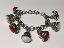 Pulsera de Plata con Abalorios blancos y rojos - Silver Bracelet with red white
