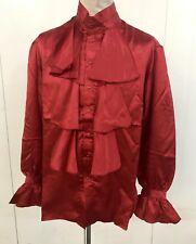 Lo Steampunk SDL MEN'S Red Satin Austin Powers Stile Camicia Taglia M