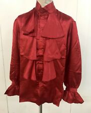 Steampunk Sdl Men's Red Satin Austin Powers Style Shirt Size M