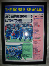 AFC Wimbledon 0 LUTON TOWN 0 - 2011 Blu Quadrato PLAY-OFF def. - Framed print