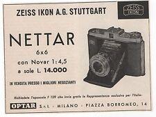 Pubblicità 1957 IKONTA NETTAR ZEISS IKON FOTO PHOTO old advert werbung publicitè
