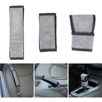 Bling Shiny Car Seat Belt & Shift Knob & Handbrake Sleeve Cover Protector Set