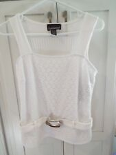 FRANK LYMAN WOMENS SZ 12 NWT#21130 WHITE LACE KNIT BELTED TANK TOP ORIG. $ $96