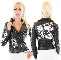 Damen Biker Jacke Kunstleder Leder Wet Look Graffiti Print Punk Style S M L XL