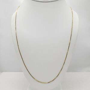 "14k Italy Yellow Gold Box Chain Necklace 22"" Long Thin Unisex Stamped & Tested"