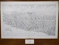 "Vintage 1900 HOLY LAND Map Engraving 22""x14"" Old Antique Original BIRDS EYE VIEW"