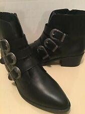 Steve Madden womens black leather bark boots Size 10 medium