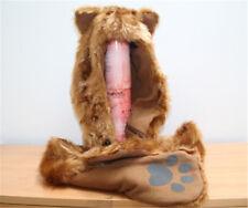 Full Animal Hoodie Hat Faux Fur hood Hat 3 in 1 Pocket Scarf Mitten Gold Fox US
