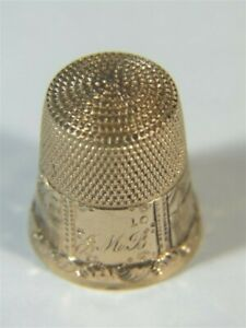 Vtg Simons 14K Gold Engraved Houses Mountains Scenic Band Sewing THIMBLE