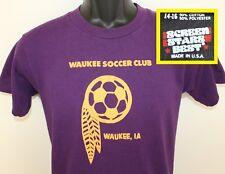 Waukee Iowa Soccer Club vtg kid's t-shirt youth 14-16 purple 80s 90s soft thin