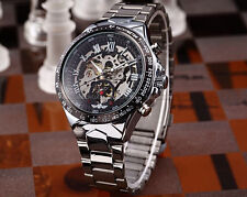 Winner Automatic Stainless Steel Case & Strap Skeleton Black Face Watch