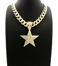 "Hip Hop Iced Gold plated Star Pendant & 11mm 18"" Cuban Choker Chain Necklace"